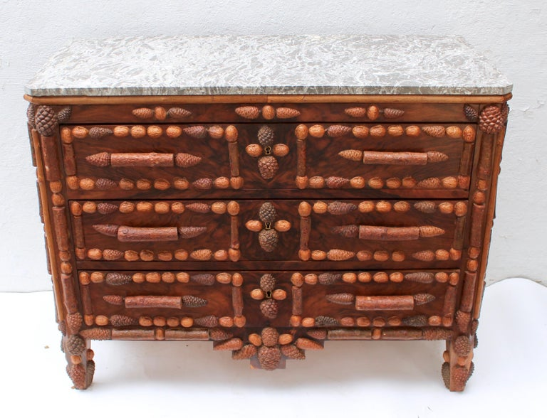 Italian Walnut and Pinecone Decorated Chest of Drawers with Marble Top 3