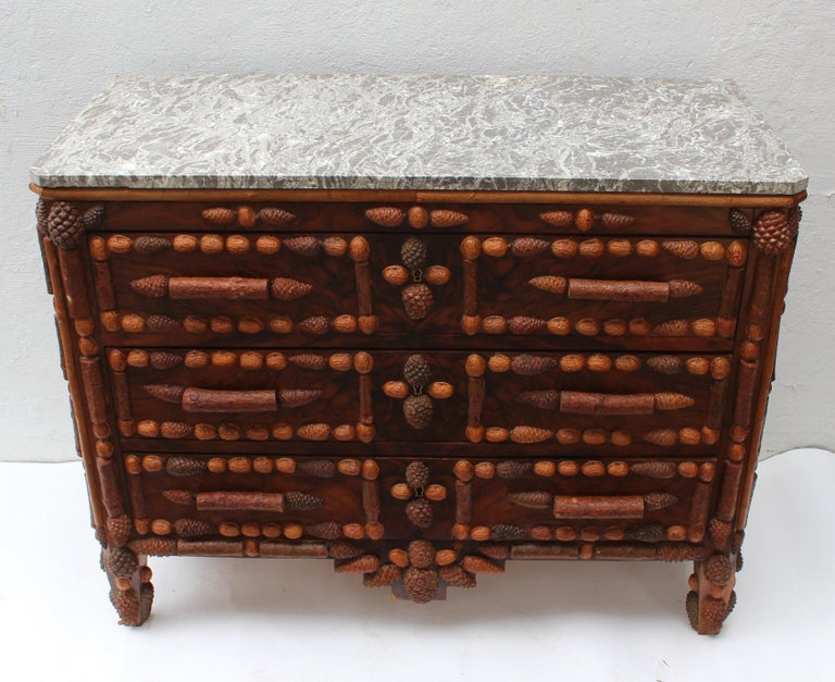 Italian Walnut and Pinecone Decorated Chest of Drawers with Marble Top 8
