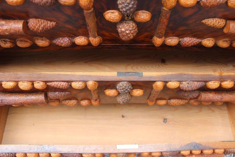 Italian Walnut and Pinecone Decorated Chest of Drawers with Marble Top 9