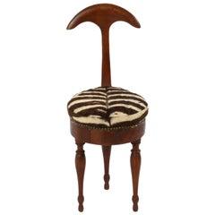 Italian Walnut and Zebra Hide Tripod Chair