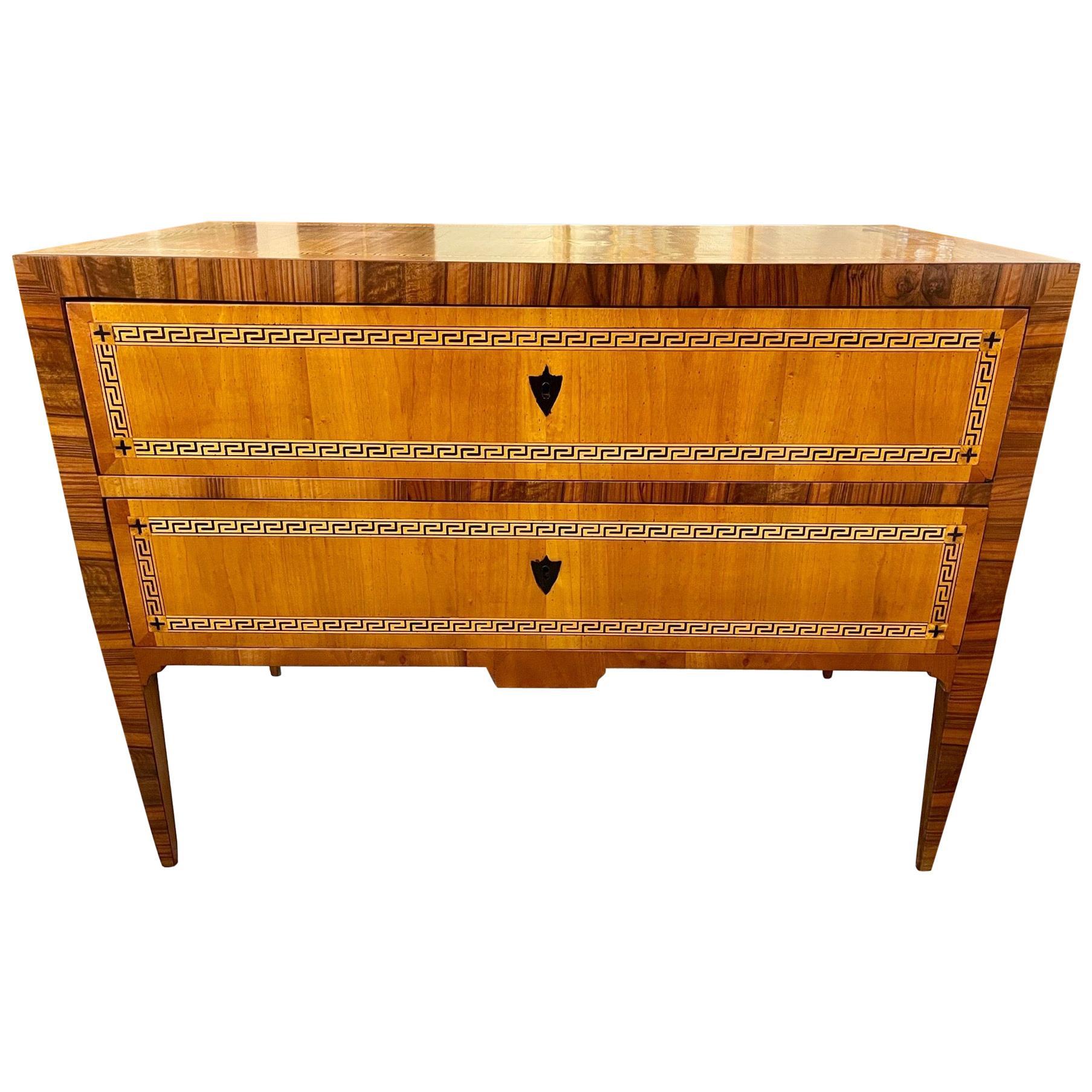 Italian Walnut and Zebra Wood Commodes with Greek Key Design