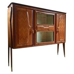 Italian Walnut Bar Cabinet by Vittorio Dassi Vintage, circa 1950s Midcentury