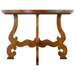 Italian Walnut Baroque Style Demilune Console Table