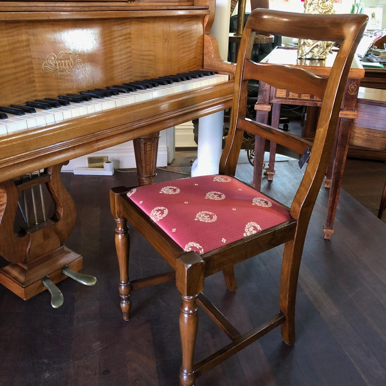 Italian Walnut Bordeaux Upholstered Occasional / Office Chair In New Condition For Sale In Perth , AU