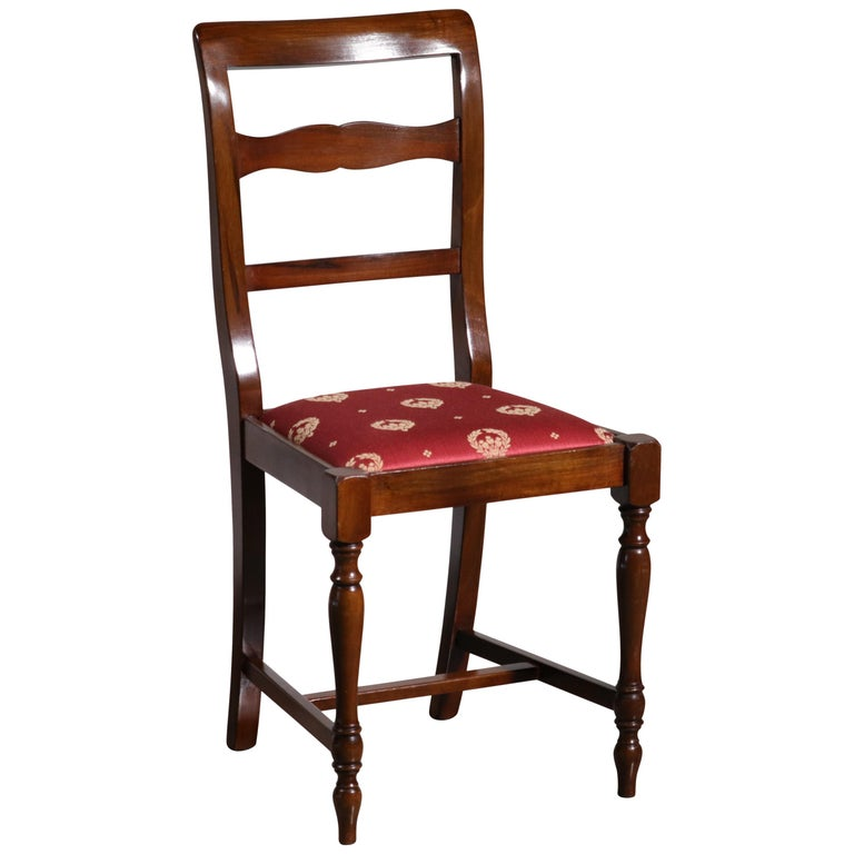 Italian Walnut Bordeaux Upholstered Occasional / Office Chair For Sale