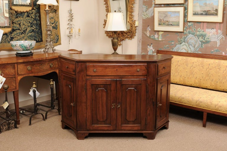 Italian Walnut Canted Crendenza, Early 19th Century For Sale 15