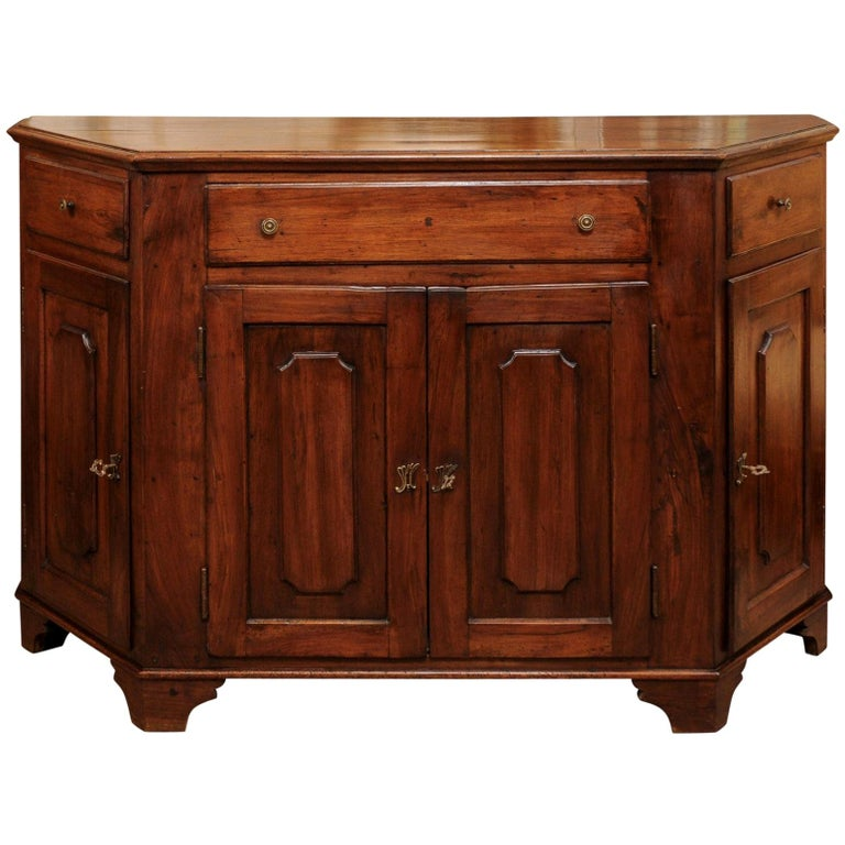 Italian Walnut Canted Crendenza, Early 19th Century For Sale