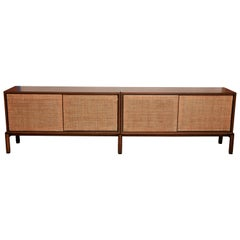 Italian Walnut Credenza with Caned Front