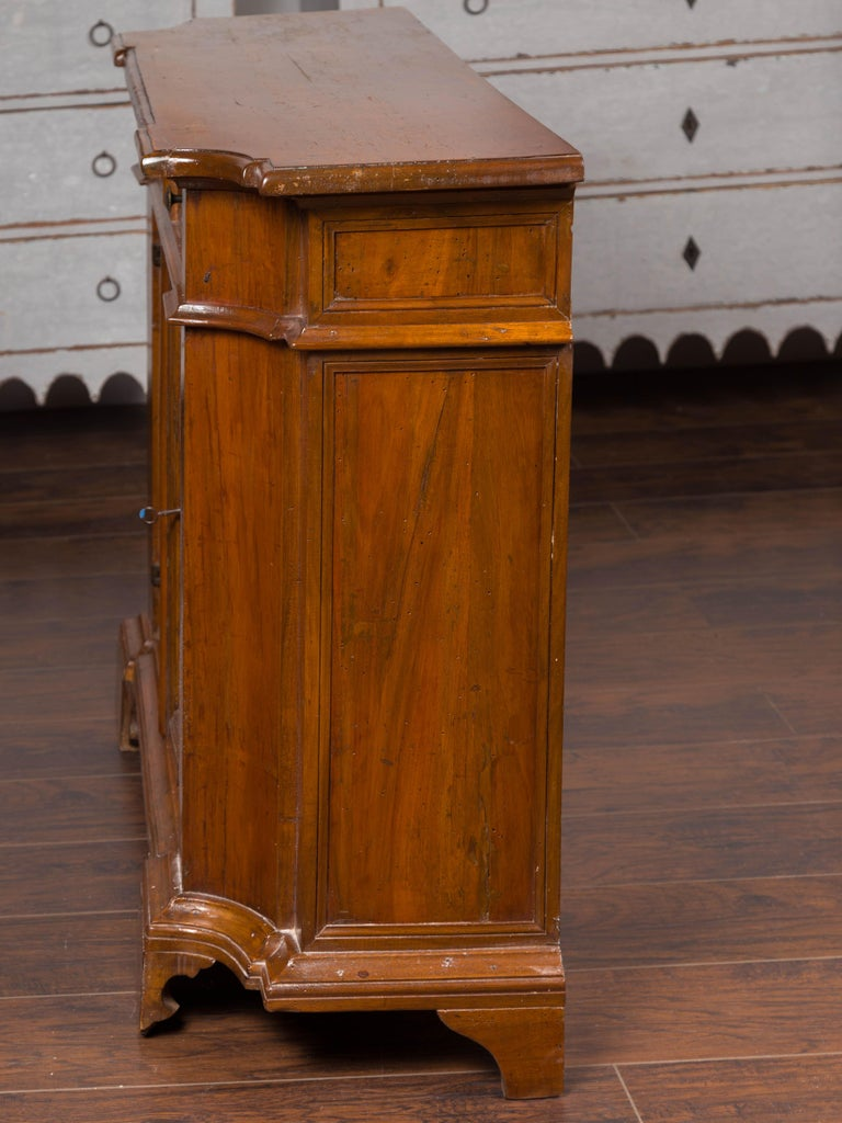 Italian Walnut Credenza with Drawers over Doors and Curving Sides, circa 1860 7