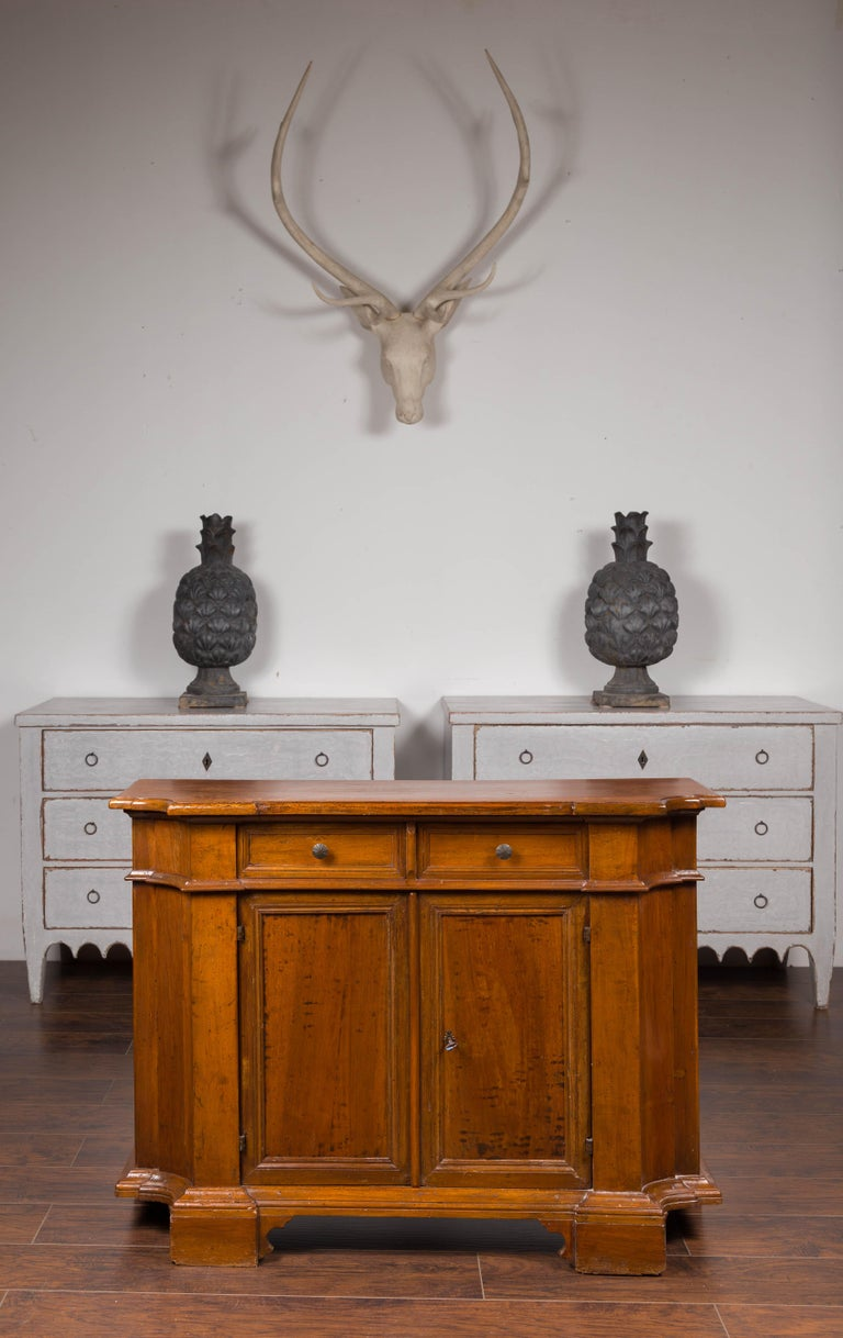 Italian Walnut Credenza with Drawers over Doors and Curving Sides, circa 1860 In Good Condition In Atlanta, GA