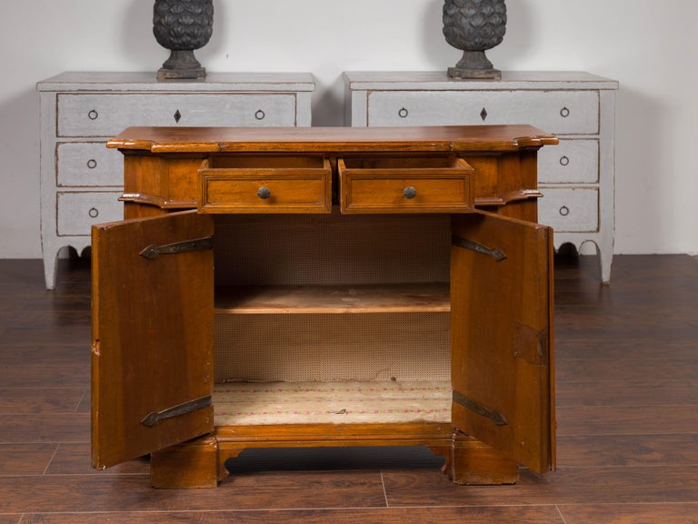 Italian Walnut Credenza with Drawers over Doors and Curving Sides, circa 1860 4