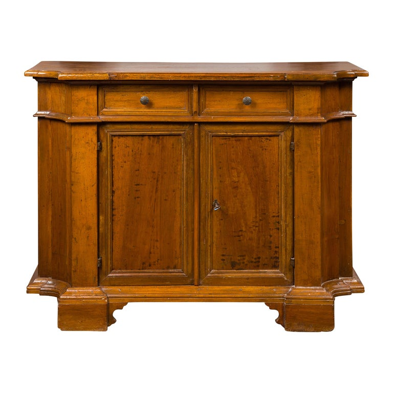 Italian Walnut Credenza with Drawers over Doors and Curving Sides, circa 1860