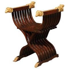 Italian Walnut Curule Folding Chair