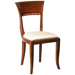 Italian Walnut Deco Occasional Chair with Modern Upholstery, circa 1920