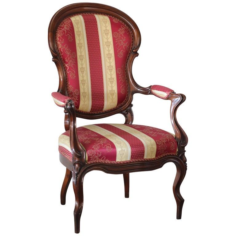 . Italian Walnut Louis Phillipe Modern Upholstered Occasional Chair  circa  1850