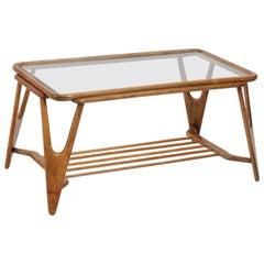 Italian Walnut Mid-Century Modern Coffee Table Cesare Lacca Style, 1950s