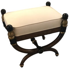 Italian Walnut Parcel-Gilt Neoclassical Bench