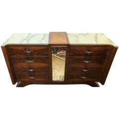 Italian Walnut Sideboard, Original from 1950 with 8 Drawers, Special Design