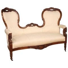 Italian Walnut Sofa from the 19th Century