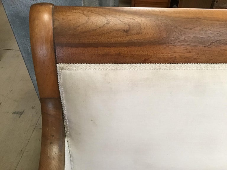 Fabric Italian Walnut Sofa with White Upholstery from 1920s For Sale