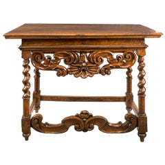 Italian Walnut Table Console, Italy 17th Century Wood Carved