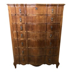 Italian Walnut Tallboy from 1960, Original Curved Shaped Drawers, Period Handles