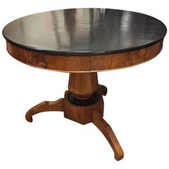 Italian Walnut Tripod Table with Black Coated Top from Early 20th Century