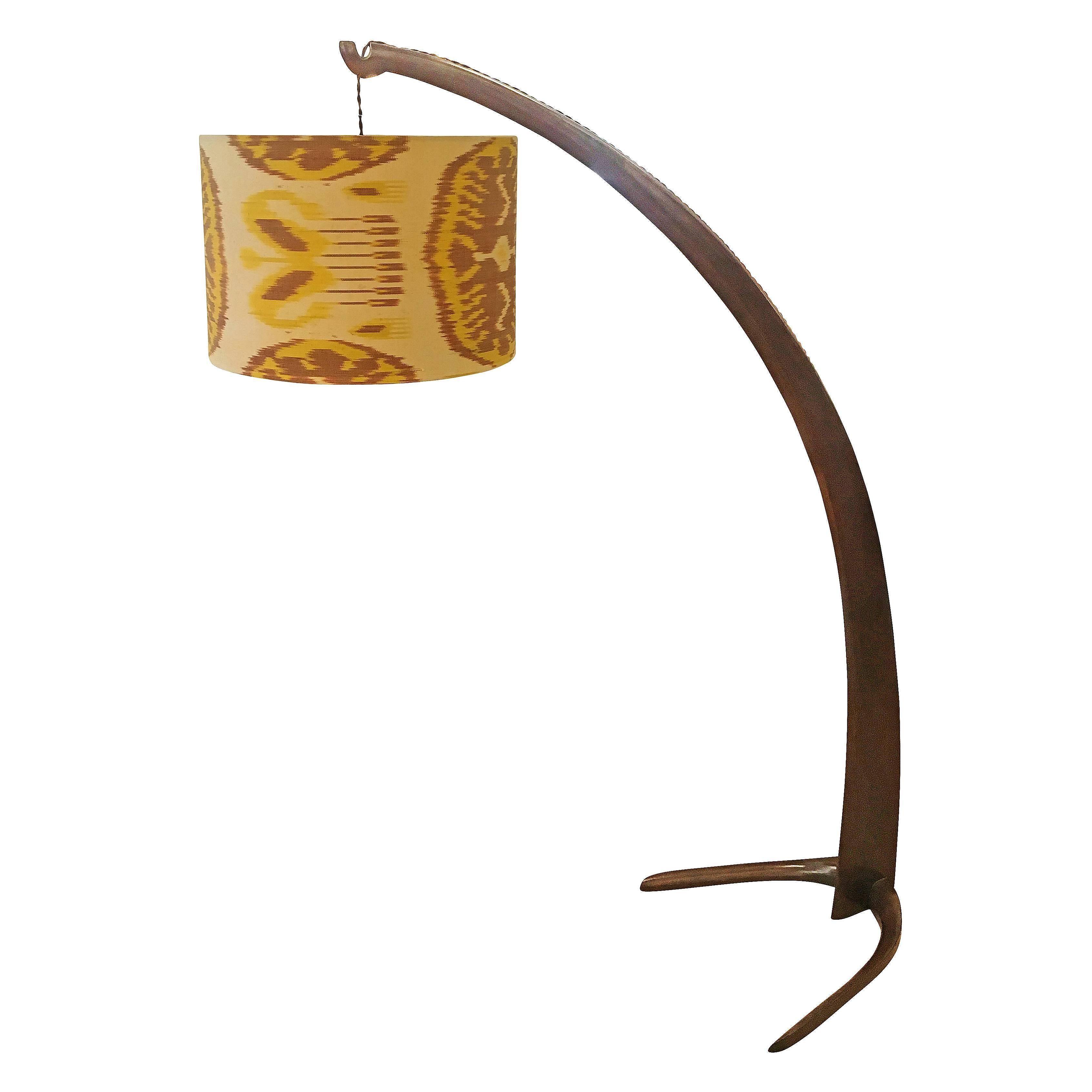 "Italian Walnut ""Tusk"" Floor Lamp, 1940s"