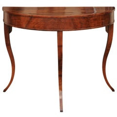 Italian Walnut Veneered Demilune Console Table, circa 1840 with Curved Legs