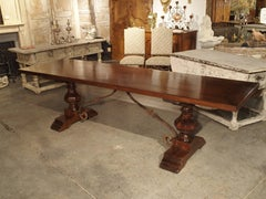 Italian Walnut Wood Dining Table with Iron Stretchers