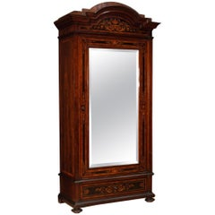 Italian Wardrobe in Inlaid Wood with Mirror from 20th Century
