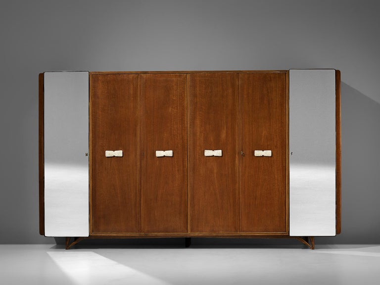 Large Italian wardrobe, curly mahogany, maple, glass, brass, alabaster, Italy, 1960s  With its six doors this wardrobe has an impressive size. Two doors on the side hold a mirrored surface, the four inner doors have a luxourious surface in