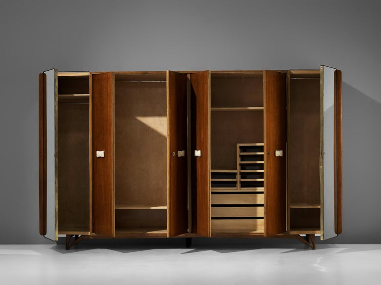 Italian Wardrobe in Mahogany and Alabaster In Good Condition For Sale In Waalwijk, NL