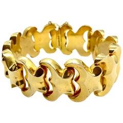 Italian Wavy Yellow Gold Link Bracelet