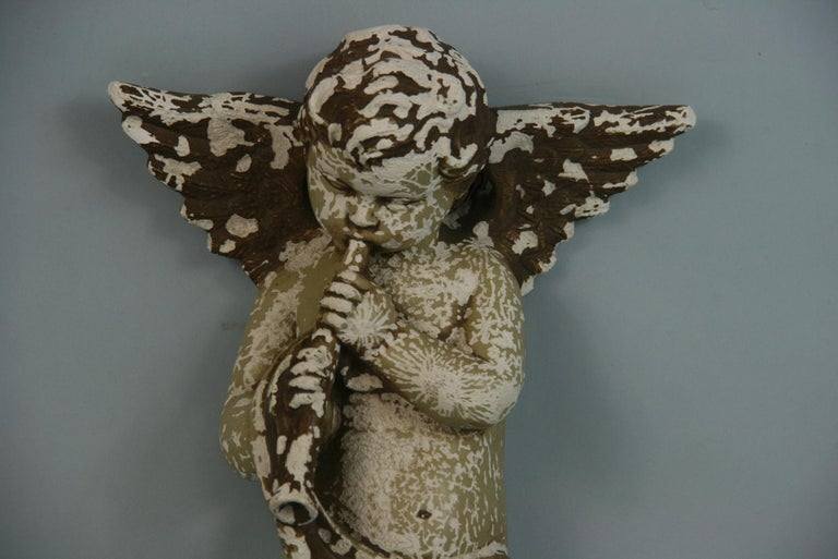 Italian Weathered Gesso Putto Sculpture For Sale 9