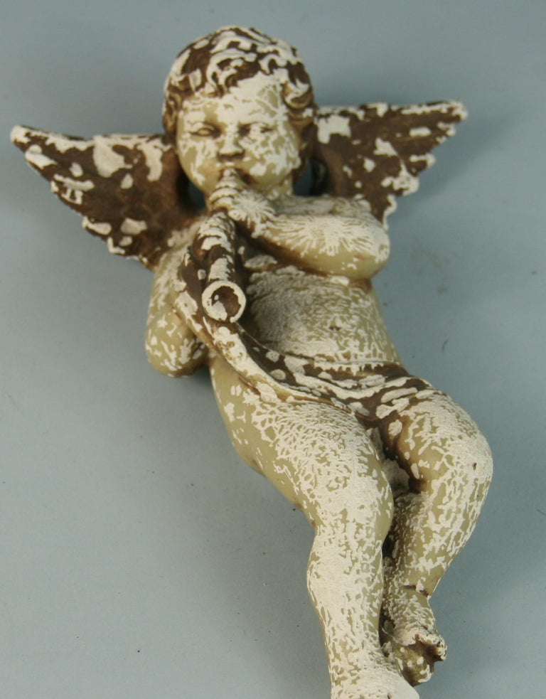 Italian Weathered Gesso Putto Sculpture For Sale 1