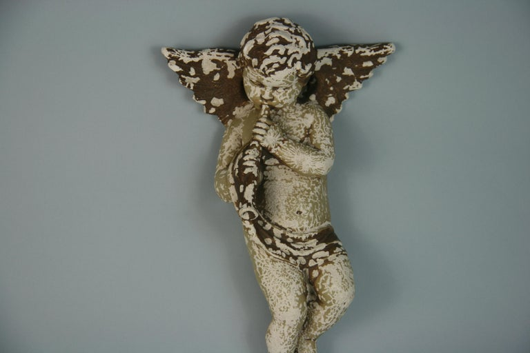 Italian Weathered Gesso Putto Sculpture In Fair Condition For Sale In Douglas Manor, NY