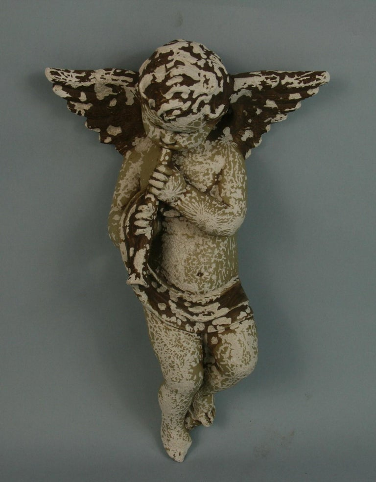 Italian Weathered Gesso Putto Sculpture For Sale 4