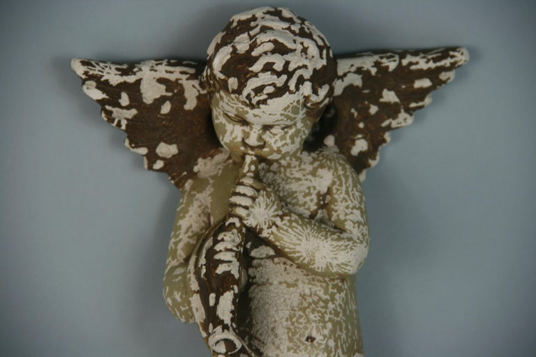 Italian Weathered Gesso Putto Sculpture For Sale 6