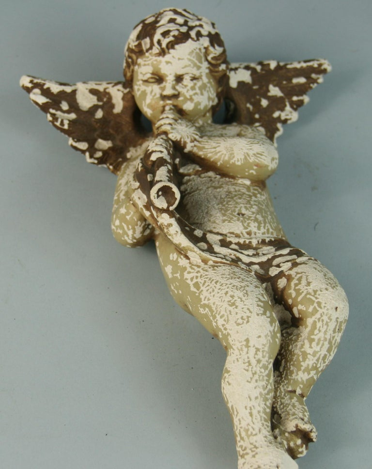 Early 20th Century Italian Weathered Gesso Putto Sculpture For Sale