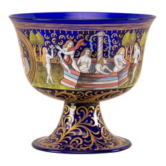 Italian Wedding Cup Murano Glass Venice, Late 19th Century Barovier Toso Painted