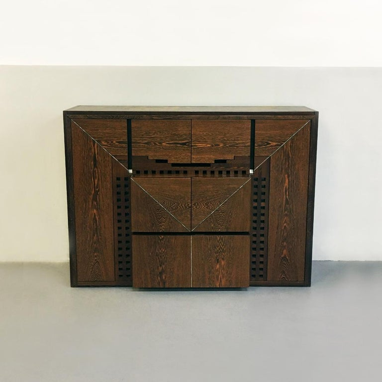 Mid-Century Modern Italian Wengé Cabinet Micene by F. Meccani for Meccani Arredamenti, 1978 For Sale