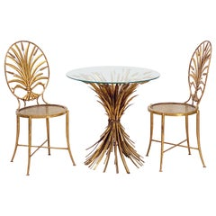 Italian Wheat Sheaf Cocktail Table and Chairs Set by S. Salvadori, Firenze