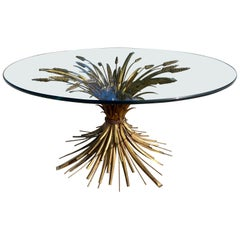 Italian Wheat Sheaf Gold Coffee Cocktail Table Sculptural, Hollywood Regency