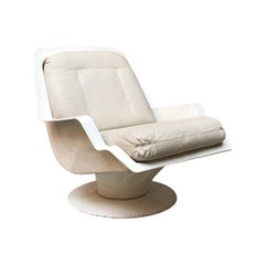 Italian White Abs and Beige Leather Space Age Armchair, 1970s