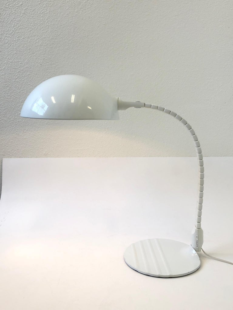 Powder-Coated Italian White Adjustable Table Lamp by Elio Martinelli for Martinelli Luce For Sale