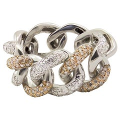Italian White and Brown Diamond 18 Karat White Gold Link Chain Cocktail Ring