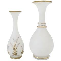 Italian White and Gold Art Glass Vases