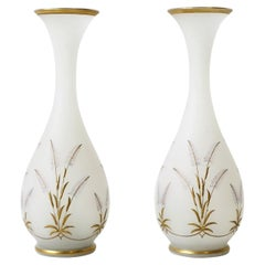 Italian White Opaline and Gold Art Glass Vases with Sheef-of-Wheat Design, Pair