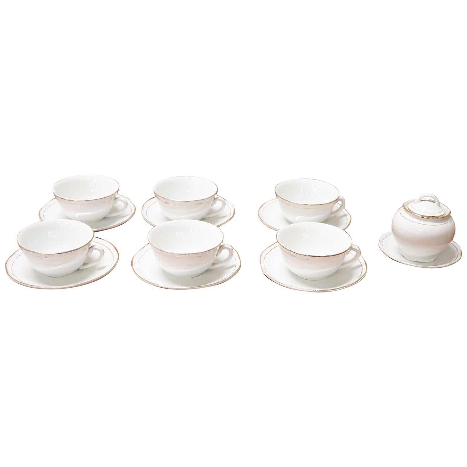 Italian White and Gold Ceramic Coffee and Tea Set by Laveno 15 Pieces